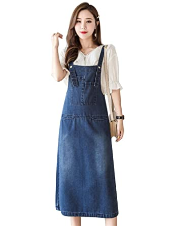 22253fa9a8 Drasawee Women's Loose Casual Denim Overall Dress Suspender Jumper Jean  Skirt Plus Size with Pocket S