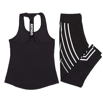 sakj-c Sport Set Mujer Luminoso Legging + Deportes Top Yoga ...