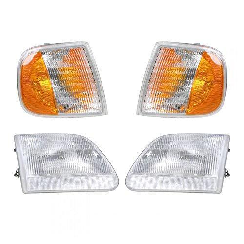 Headlight & Parking Corner Light Left & Right Pair Set for Ford Truck Expedition - Headlight Parking Light Set