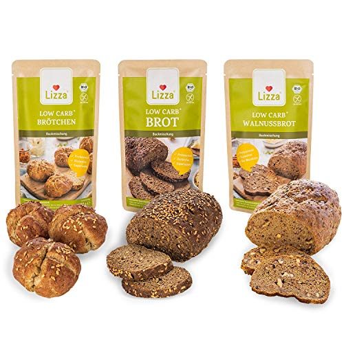 Lizza Low Carb Trial Pack 3x 250g Bread Baking Mixes 3 Varieties | Up to 89% Less Carbs | 100% Organic, Gluten-Free…