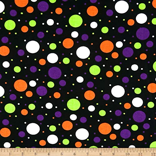Santee Print Works Halloween Multidots Fabric, Black/Multi, Fabric By The Yard