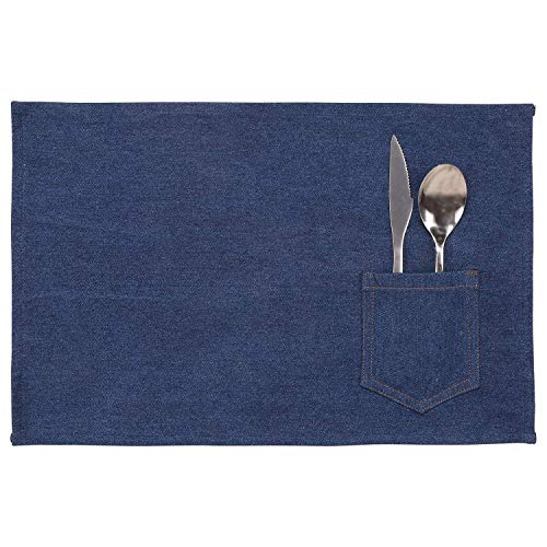 "AZ COLLECTION Placemats Single Layer Denim Blue, (Setof 4) Eco Friendly and Safe, Size 11""x17 Inch - Great for Dining, Holiday Season"