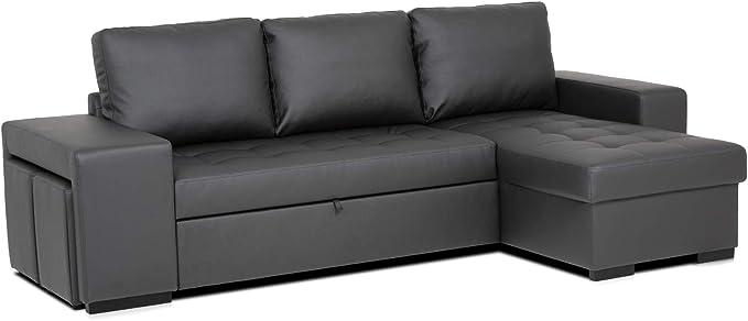 Confort24 Chloe Sofá Cama 3 Plazas Chaise Longue Reversible com 2 ...