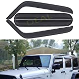 DEAL 4-Piece Set Smoke Vent Window Visor, Side Window Deflector With Outside Mount Tape-On Type, Custom Fit For 2007-2018 Jeep Wrangler 4-Door Jk Only