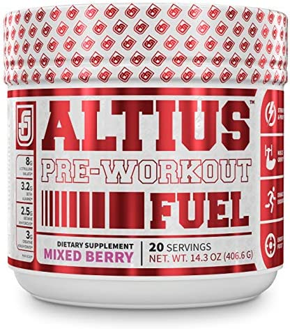 ALTIUS Pre-Workout Supplement – Naturally Sweetened – Clinically Dosed Powerhouse Formulation – Increase Energy Focus, Enhance Endurance – Boost Strength, Pumps, Performance – Mixed Berry Blast 14.3 OZ