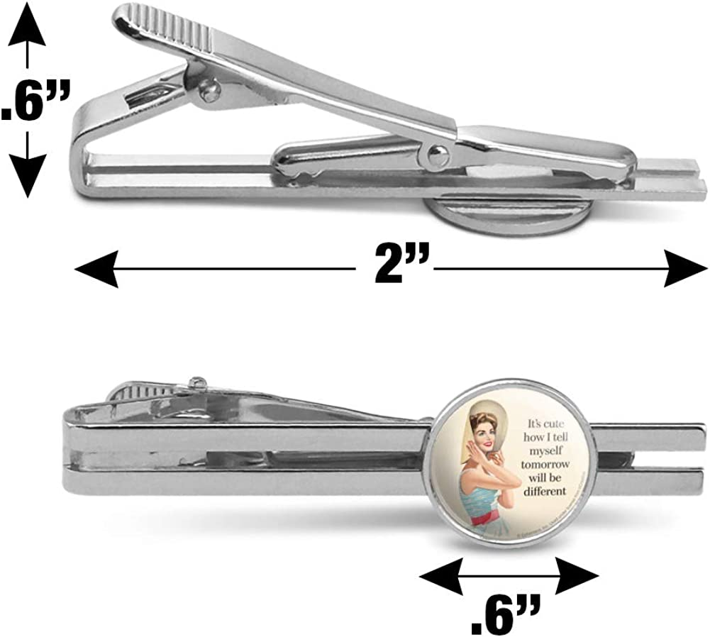 GRAPHICS /& MORE Cute How Tell Myself Tomorrow Different Round Tie Bar Clip Clasp Tack Silver