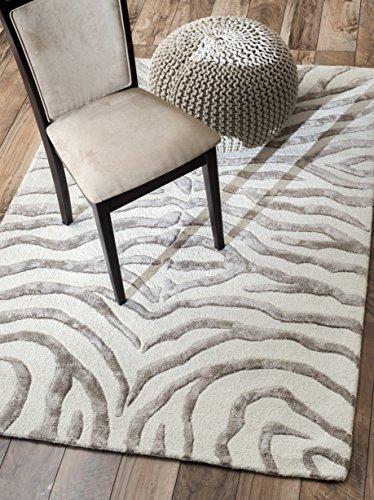 nuLOOM ZF5 Hand Tufted Plush Zebra Wool Rug, 3' x 5', Grey ()