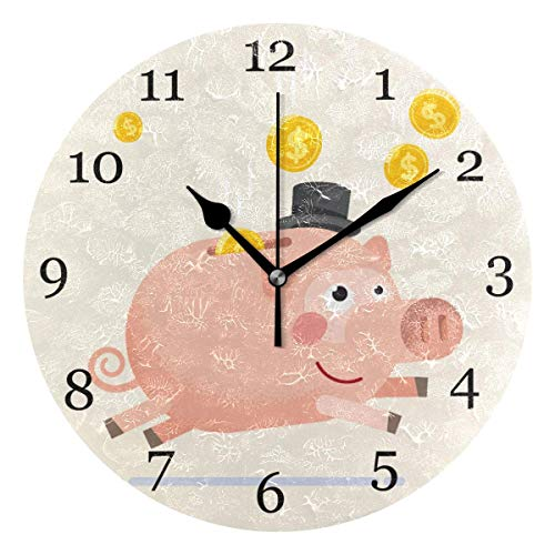Lmlfes Cute Pig Piggy Bank Silent Non Ticking Round Acrylic Wall Clock Home Office School Decorative Clock Art (Pig Clock Bank)