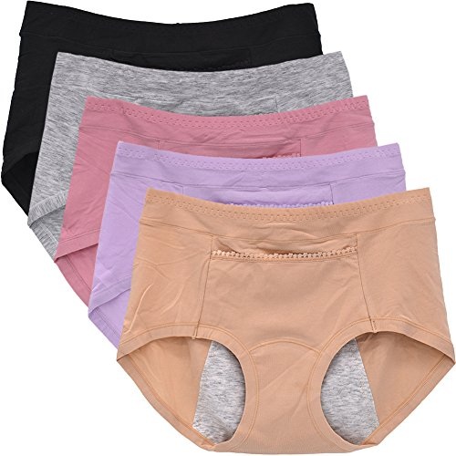 e Period Briefs Leak-Proof Underpants for Women Packs of 5(Medium/6, Mixed Colors) ()