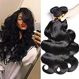 GEM Beauty Brailian Body Wave Virgin Hair 3 Bundles Deal (12 14 16) 100% Unprocessed Remy Human Hair Weave BundlesNatural Black