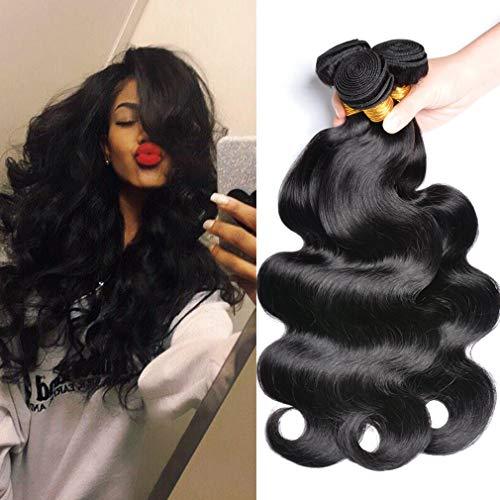 (GEM Beauty Brailian Body Wave Virgin Hair 3pcs lot 100% Unprocessed Remy Human Hair Extensions Natural Black (12 14 16 inch))