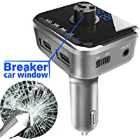 Bluetooth FM Transmitter, HAHAKEE Car Radio Adapter Used as Safety Hammer, Wireless FM Modulator with Aux Output & Dual USB Charging Ports, Support Hand-Free Calling, TF Card, USB Flash Drive