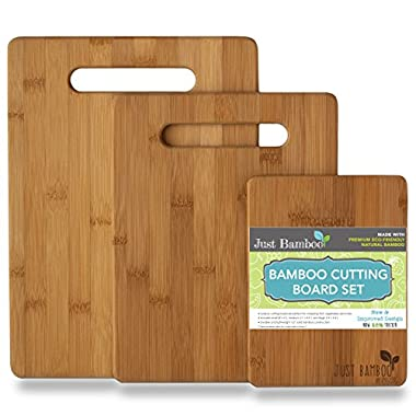 Bamboo Cutting Boards, Solid & Thick 3 Piece Wood Set with Extra Wide Handles by Just Bamboo
