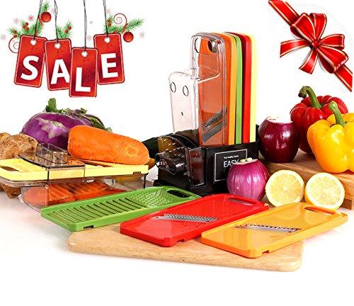 EASYCHEF Multi Grater Mandoline Julienne Slicer Vegetable Cutter Peeler Premium Stainless Steel Blades Food Safe Plastic