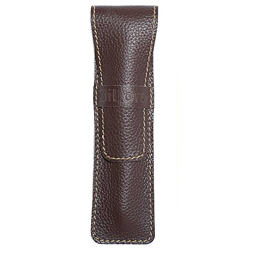 DiLoro Full Grain Top Quality Genuine Leather Single Pen Case Sleeve Holder Pouch (Cow Chocolate)