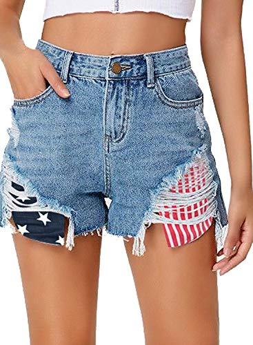 luvamia Women's Mid Rise Ripped Jean Shorts Frayed Raw Hem Denim Shorts O American Flag Shorts, Size M