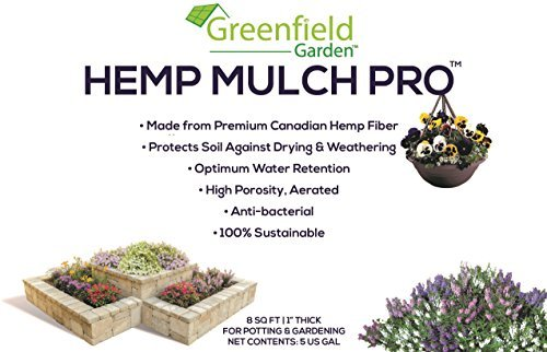 Greenfield Garden Hemp Mulch Pro- Premium Organic Indoor Plant Mulch: Protects Against Drying, Optimal Water Retention, Covers Soil & Lightweight [20 GAL]