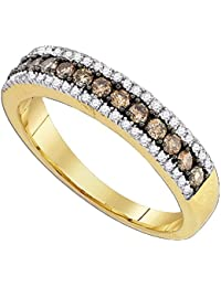 14k Yellow Gold Brown Diamond Fashion Band Chocolate Ring Single Row Semi Eternity Fancy 1/2 ctw