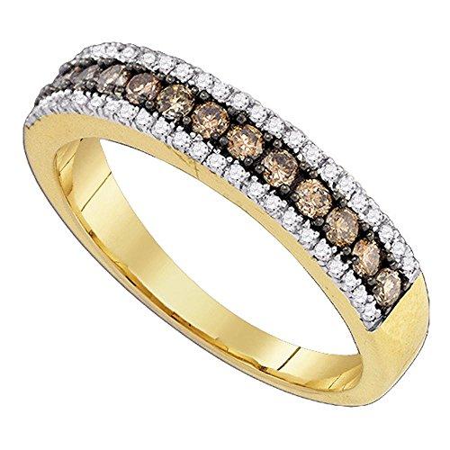 Brown Diamond Fashion Band Solid 14k Yellow Gold Chocolate Ring Single Row Semi Eternity Fancy 1/2 ctw
