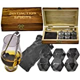 Deluxe Polished Diamond Whiskey Stones Gift Set - 6 Stones, Beautiful Hand Made Box, Tongs and Velvet Storage Bag - Never Water Your Drink Down Again