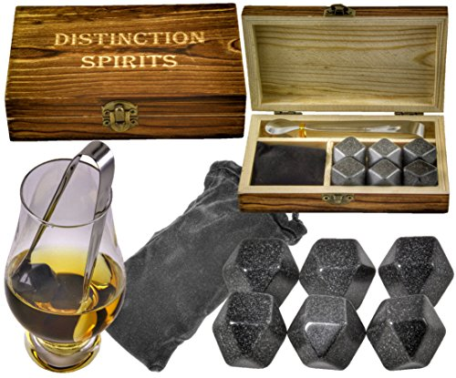 Deluxe Polished Diamond Whiskey Stones Gift Set - 6 Stones, Beautiful Hand Made Box, Tongs and Velvet Storage Bag - Never Water Your Drink Down -
