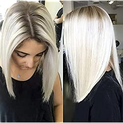 Chantiche Hot Sale Natural Looking Platinum Blonde Short Bob Hair Lace Wigs Fashion Brown Roots #60 Synthetic Lace Front Wig for White Women 14 inches