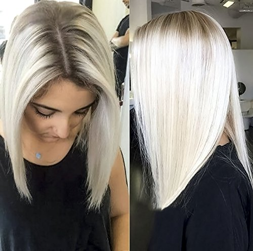 Chantiche Hot Sale Natural Looking Platinum Blonde Short Bob Hair Lace Wigs Fashion Brown Roots Synthetic Lace Front Wig for White Women for $<!--$37.69-->