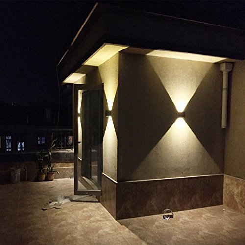 LED Aluminum Waterproof Wall Lamp ,12W 85-225V 3200K Adjustable Outdoor Wall Light Warm Light 2 LEDS (Black)