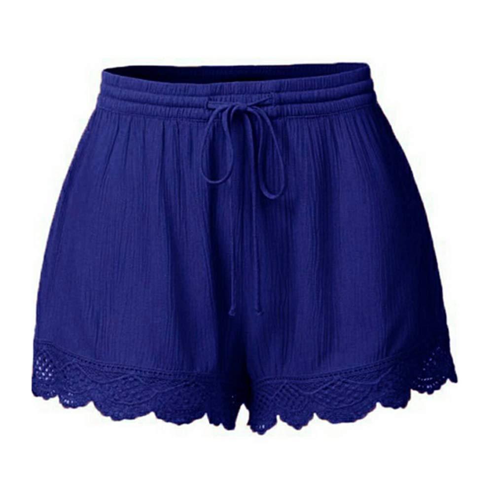Yu Li Women's Plus Size Casual Drawstring Elastic Waist Lace Spliced Shorts Pants Blue M