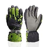 Ski Gloves, Waterproof Winter Breathable Warm Gloves, Cold Snowboard Gloves,Fits Both Men & Women (Green+XL)