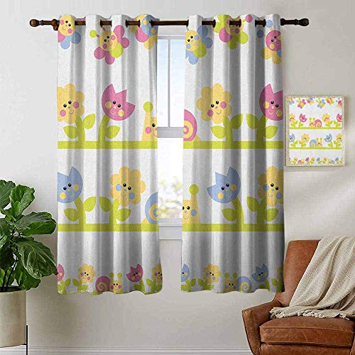 Thermal Insulated Blackout Curtain Kids,Cartoon Character Bees Tulip and Daisy Flowers Snails Garden Pattern, Baby Blue Pale Green Yellow,Blackout Draperies for Bedroom Living Room 42
