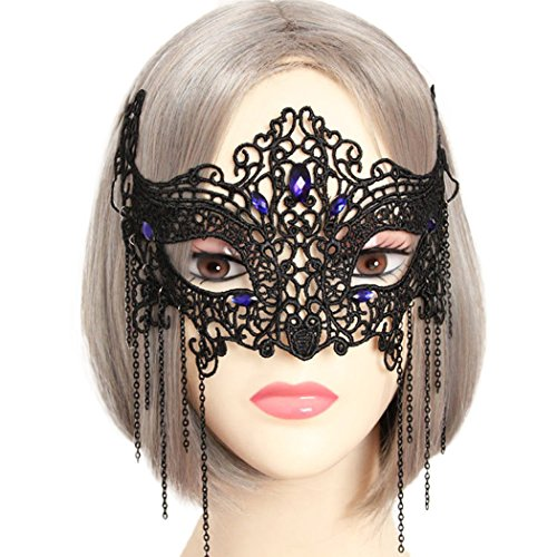 Raylans Women Gothic Lace Masquerade Eye Mask Halloween Party Custome Mask,#1 (Masked Ball Outfit)