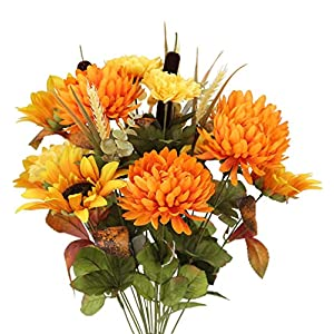 Admired By Nature 18 Stems Artificial Sunflower, Mum And Zinna Mixed Flowers Bush For Home Office, Wedding, Restaurant Decoration Arrangement, Gold/Orange Mix 1