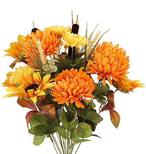 Admired By Nature 18 Stems Artificial Sunflower, Mum And Zinna Mixed Flowers Bush For Home Office, Wedding, Restaurant Decoration Arrangement, Gold/Orange Mix