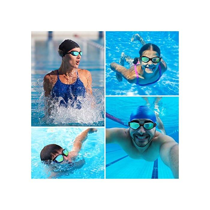 51UVDhdLm9L GAFAS NATACION HERMÉTICAS: Estas gafas de silicona están hechas de silicona suave de doble capa para gran comodidad y evitar que goteen. Con el fuerte sello de goma gruesa, protegerán sus ojos del cloro y otros químicos presentes en las piscinas. Sus ojos también estarán protegidos contra el polvo, suciedad y bacterias, esto evitará la irritación y los ojos rojos. Estas gafas de nadar se pueden usar para bucear, triatlones y nado sincronizado. LENTES CON PROTECCIÓN UV: Estas coloridas gafas para natación tienen coloridas lentes de policarbonato. Son resistentes, no se romperán y tienen protección UV. Con esta protección evitará cualquier daño por los rayos del sol y también reducen la cantidad de luz que entra, esto ayuda a minimizar el resplandor, para mejorar la experiencia cuando nade en exteriores o bajo las brillantes luces de la piscina. CORREA AJUSTABLE DE SILICONA: Las gafas para bucear tienen una correa que se puede ajustar fácilmente para hacerla más grande o pequeña y ajustarse a la mayoría de los tamaños de cabezas. Estas gafas son aptas para hombres y mujeres adultos, así como también adolescentes. El botón de liberación rápida en la parte trasera ayuda a liberarlas y retirarlas fácilmente. Estas gafas de piscina son perfectas para profesionales, así como nadadores recreativos.