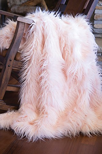Faux Fur Throw Blanket, Mongolian Long Hair Pink