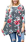 FUSENFENG Womens Plus Size 3/4 Sleeve Floral Shirt Casual Loose Blouse Top (Black, XXXL)