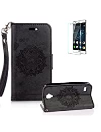 For Huawei Y5 Case [with Free Screen Protector], Funyye Classic Premium Folio PU Leather Wallet Magnetic Flip Cover and [Credit Card Holder Slots] Mandala Flower Patterns Design Protective Case Cover for Huawei Y5 -Black