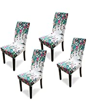 Argstar 2 Pack Dining Chair Covers, Stretch Printed Armless Chair Slipcover for Dining Room, Spandex Kitchen Parson Chair Protector Cover, Removable & Washable