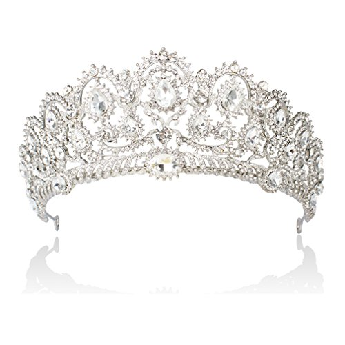 ANBALA Bridal Queen Tiara Crown, Luxury Bling Crystal Bridal Headband Prom Queen Pageant Princess Crown Hair Accessories for Women, Silver