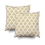 ROOLAYS Decorative Throw Square Pillow Case Cover 18X18Inch,Cotton Cushion Covers golden white pattern in art deco Both Sides Printing Invisible Zipper Home Sofa Decor Sets 2 PCS Pillowcase