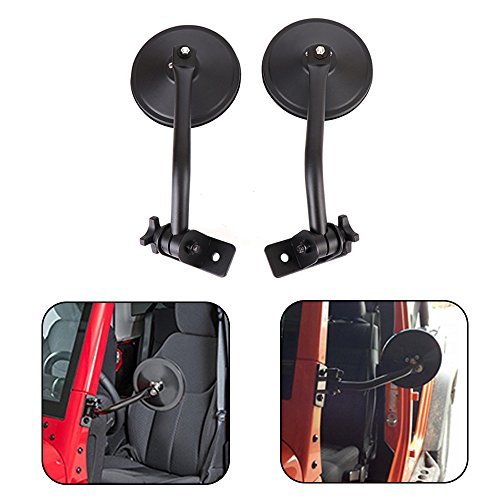Bracket Door Side (Joytutus Side Rear View Mirror for Jeep Wrangler Doors Off JK JKU TJ LJ 1997-2017 Hinge Round Mirrors Relocation)