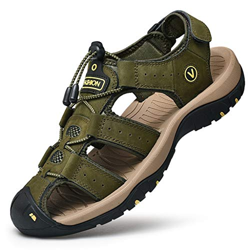 Closeout Special Brown Leather - Athletic Shoes Breathable Sport Sandals for Men,Hiking Sandals Walking Fisherman Beach Shoes Closed Toe Water Sandals