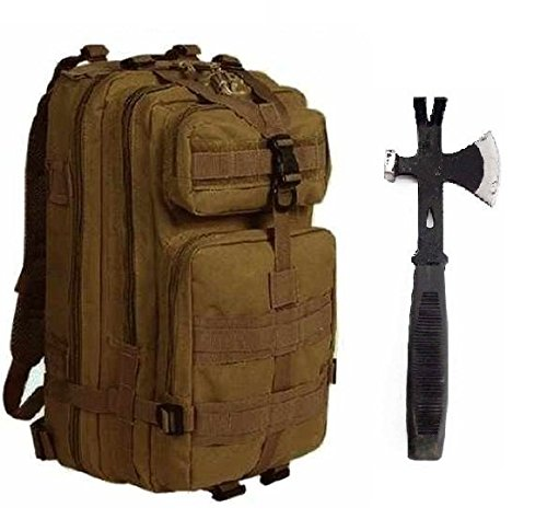 """Price comparison product image Ultimate Arms Gear Surviaval Combo: 13"""" Tactical 3 in 1 Mulit-Use Emergency Supply Tool Chop Hatchet Axe + Flat Head Hammer + Wrecking Ripping Pry Bar with Rubberized Grip Handle + Coyote Tan Compact Level 3 Full Featured Assault Pack Backpack 3 Day Bug Out Bag Equipment Transport with Adjustable Shoulder Straps MOLLE Modular Range Military Army Hunting Camping"""