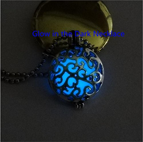 Steampunk Fairy Glow in the Dark Locket Aqua Silver Filigree Glowing Pendant Glowies Jewelry Victorian Handmade Magic Galaxy Charm ()