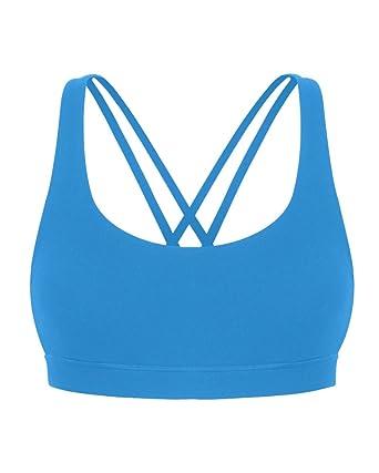 Sujetador Deportivo Tirantes Cruzados Chaleco Deporte Yoga Sin Aros Para Mujer Azul XL: Amazon.es: Ropa y accesorios