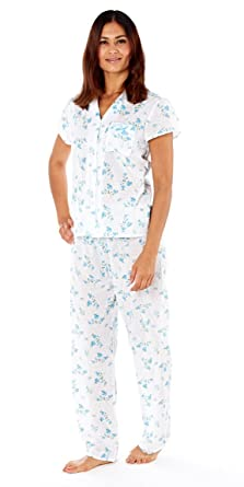 c8c33e4191b Ladies 100% Soft Cotton Pyjamas suit set PJs Summer White Aqua Light Pink  Floral Traditional