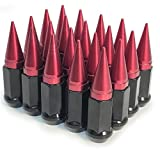 RED / BLACK SPIKES LUG NUTS 12X1.25 | RED SPIKED LUG NUTS 12X1.25
