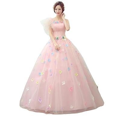 4f178d344a7b1 cnstone カラードレス 演奏会用ドレス ウェディングドレス プリンセスライン お花コサージュ付のボリューム