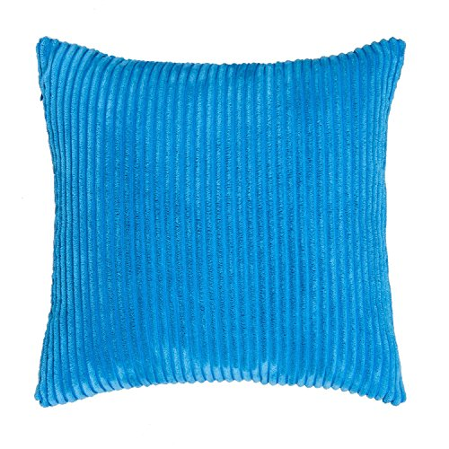 SUNOOMY Supersoft Handmade Decorative Striped Velvet Square Throw Cushion Pillow Case Cover Sofa Couch Bed Chair,Baby Boy Blue,24